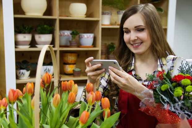 woman taking a photo of orange tulips
